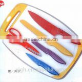 HX-1037 hot sale promotional kitchen accessories plastic chopping board with 6pcs kitchen knife