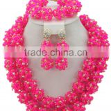 Double Rows Multicolor Ball Crystal Beads Nigerian Bridal Jewelry Set