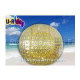 Nontoxic Yellow Inflatable Zorb Ball , Heavy Duty Plastic Water Walking Ball