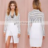 Fashion formal blouse for lady long sleeve stripe woman shirt 2015 latest design formal skirt and blouse
