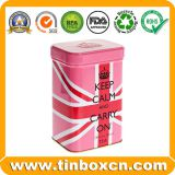 Rectangle Metal Embossed Tea Tin Can for Tea Caddy Storage