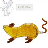 Mouse shape glass spirits bottle animal bottle and decanter for the wine holder by handmade art