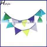 Quality Bunting For Home Decor 10ft length 12 flags in Blue/Green with White Dot PL019