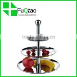 Tableware Dinnerware food grade two tiers stainless steel vegetable fruit display cake stand