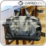 2016 new design PUleather/genuine leather black travel duffel organizer bag large capacity crossbody bag for men