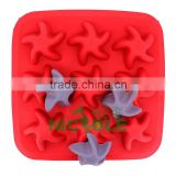 2013 zibo nicole new BC0004 silicone and plastic square starfish ice tray mold ice cube molds