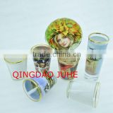 2oz shot glass with white panel gold rim,golden edge small sublimation glass,blank custom tass