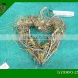 natural wicker heart shaped Christmas wreaths