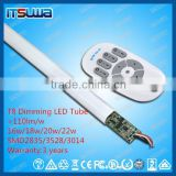 CE RoHS 600mm/900mm/1200mm smd 3528 9w/12w/18w t8 dimmable led tube in color temperature