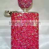 Glitter rhinestone Stainless Steel Drinking liquor Flask with bling funnel portable sparkle gift party