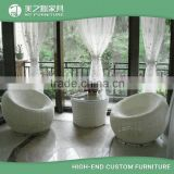 Interesting outdoor furniture white rattan egg shaped patio furniture with round wicker chairs