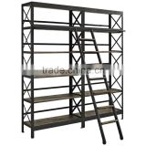 Unique style Book Case with Ladder, Hot & New design Large Industrial Ladder Book Case, Classic style Antique Book Case