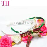 wholesale China white wide satin bow knot covered metal hairband teenage girls headband