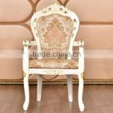 European luxury solid robber wood banquet chair table chair set with gold painted