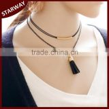 Best Selling Fashion Trendy black double layer leather tassel necklace/                                                                         Quality Choice