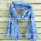 100% polyester blue fashionable lady scarf