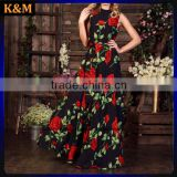 2016 Print Floral Maxi Dress Bridesmaids Dress Black Evening Gowns