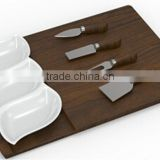 New style fashion hotel & restaurant ceramic three divided snack dish/board/cheese tools