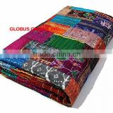 Indian Handmade Quilt Twin Kantha Bedspread Cotton Blanket Multicolor Boho Hippie Jaipur