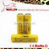 In Stock IMR18650 2800mAh 3.7V 70A wls kv5 yellow 18650 High Drain rechargeable Li-mn E-cigarette 18650 Battery