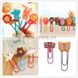 OEM Promotional Lovely Cartoon Rilicone rubber Soft PVC Plastic Paper Clips, Plastic Bookmark