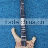 4 string burl maple electric bass guitar with battery case to be active pickup