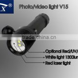 HI-MAX V15 with 2pcs Cree U2 110 degree beam angle white light and 2pcs Cree N4 red/blue light diving video laser torch