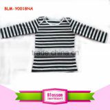 Brand boy in stock long sleeve t-shirt black/white stripe o-neck lap shoulder tops size 7 baby teen character kid blouse t-shirt
