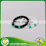 Wholesale trendy children white natural stone small flag silicone rubber beaded cuff bracelet