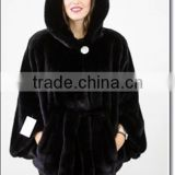 Women Mink Coat Fur Jacket Genuine Black Norka Minkcoat Leather Jacket with Tie Belt