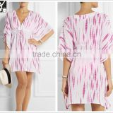 Woman 2015 fashion summer beach kaftan designs, casual short style tie-dye kaftan dress
