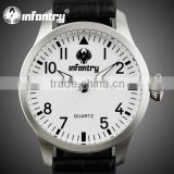 INFANTRY Army White Dial Black Leather Date Day Quartz Watch