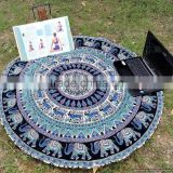 Large Elephant Mandala Round Roundie Wholesaler Indian Tapestry Table Cover Beach Throw Boho Roundie Round Mandala