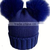 New Arrival Knitted Merino Wool Baby Beanie Hat with Two Fox Fur Pom Balls for Cute Baby