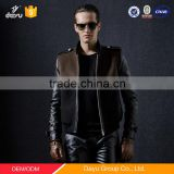 Real sheep skin leather sleeves custom bomber jackets men's wool coat winter
