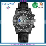 FS FLOWER - 48mm Matt Black Coating Case PE Chinese Chronograph Movt Quartz Sports Watch For Men