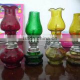 cheap price decorative colored blow control glass kerosene oil lamp glass kerosene table lamp