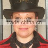 New Steampunk Hot Fashion Victorian Real Leather Top Hat