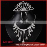 Fashion trendy rhinestone crystal tiara necklace earring bulk buy from china