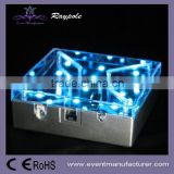 Remote control 10cm square size bottle/wine/martini/flower LED light base under vase acrylic wedding centerpiece