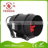 Black Plastic Inline Duct Fan with Stepless Speed Switch