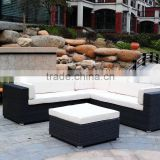 4 Pieces Outdoor Furniture Complete Patio Wicker Rattan Garden Corner Sofa Couch Set, Full, Black