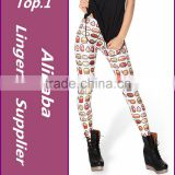 2015 Spring New Custom Design High Waist FOOD WHITE Digital Print woman fitness Skinny Legging Pants