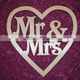Mr & Mrs Wedding Sign Unfinished Wood Cut Out Plaque Paintable Stainable