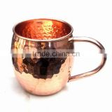 AMAZON BEST SELLER 16 OZ BPA FREE HANDMADE 100% COPPER HAMMERED BARREL DRINKING MUG WITH C SHAPED COPPER HANDLE FOR MOSCOW MULE