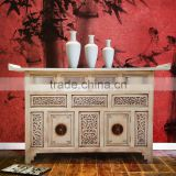 Buffet Console Oriental White Antique Mahogany Wood Furniture