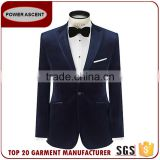 OEM Service High Quality French Trendy Arrow Lapel Single Button Velvet Blazer Coat Pant Suit For Men