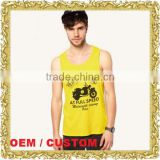 Customized men cotton stretch vest printed tank top body building stringer singlet black safety vest