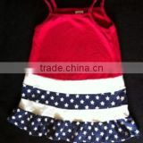 2014 new design fashion baby dress baby girls dresses striped red white& blue with stars cotton dress