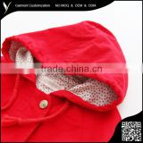 Red Twill Cotton Thicken Children Winter Coats
